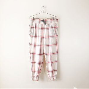 Aerie AEO Plaid Flannel Short Pajama Pants Cinch
